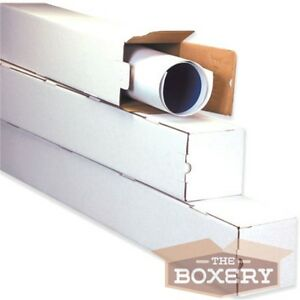 3x3x18 White Corrugated Square Mailing Tubes 50 cs From The Boxery
