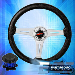Metallic Black Deep Dish Steering Wheel Blue Competition Style Quick Release