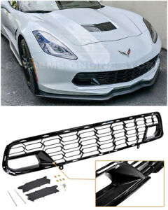 For 14 19 Corvette C7 No Camera Z06 Carbon Flash Metallic Front Bumper Grille