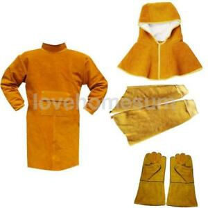 Welding Coat Protective Apron Apparel Gloves Sleeves Safety Workwear Orange