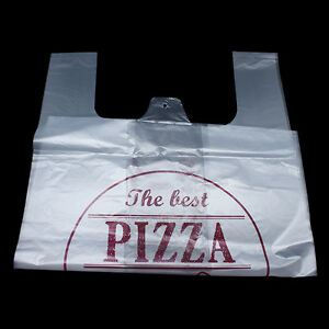 T shirt Pizza Bag Clear Plastic Shopping Grocery Merchandise Packaging Bags