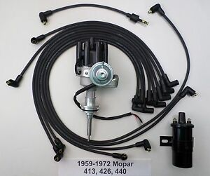 1959 1972 Mopar 440 Small Female Cap Hei Distributor Black 45k Coil plug Wire