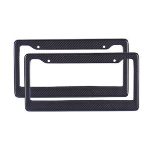 2x Jdm Black Carbon Look License Plate Frame Cover Front Or Rear Universal Us