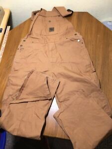 Berne Bibs Overalls Work Clothes Mens 40x32 Tag Heavy Cotton Canvas Khaki