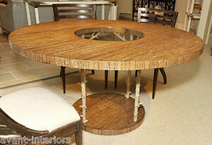 Art Deco Mid Century Modern Theodore Alexander Oak Bronze Round Dining Table
