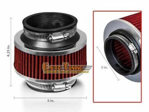 3 Inlet 76mm Cold Air Intake Universal Bypass Valve Filter Red For Oldsmobile