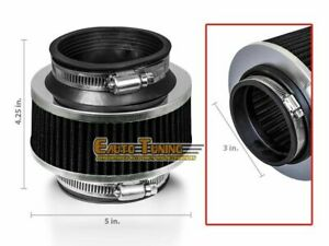 3 Inlet 76mm Cold Air Intake Universal Racing Bypass Valve Filter Black