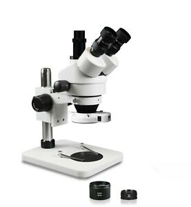 Vision 3 5x 90x Simul focal Trinocular Zoom Stereo Microscope 144 led Ring Light