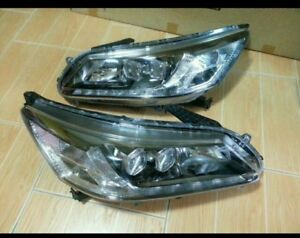 Genuin Front Hid Xenon Projector Led Headlights Drl Fit 2012 15 Honda Accord G9