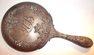Antique Sterling Silver Mauser Manufacting Company Hand Held Mirror Repousse Mfg