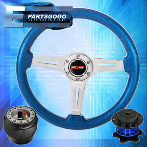 Metallic Ocean Blue Steering Wheel Blue Quick Release Hub For 89 05 Eclipse