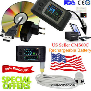 Usa Fda New Cms60c Fingertip Pulse Oximeter pc Software spo2 Pr Patient Monitor