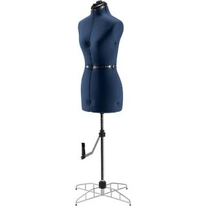 Singer Blue Adjustable Female Dress Form Medium large Mannequin Torso Stand