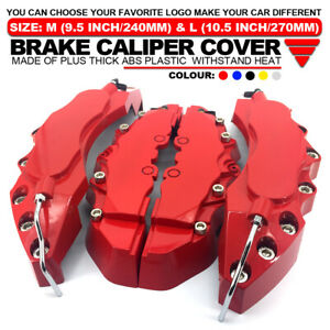 4x Red Brake Caliper Covers Universal Car Style Disc Front Rear Kits 10 5 Wl03