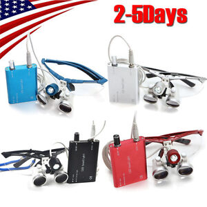 Dental Loupes 3 5x 420mm Surgical Medical Binocular Led Head Light Lamp 4 Colors