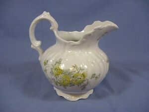 Vintage Antique Rockwell Small Pitcher 6 5 Shabby Chic Yellow Roses Rare Lovely