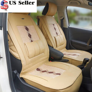 Leather Ice Silk Car Seat Cover Cushion Back Support Waist Massage For 4 Seasons
