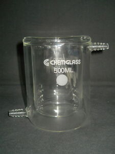 Chemglass 500ml Conical Bottom Jacketed Reaction Beaker 110mm Od X 145mm H