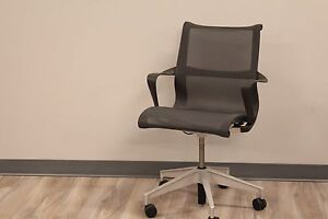 Herman Miller Setu Chair In Lyris 2 Graphite On A Graphite Base With Arms