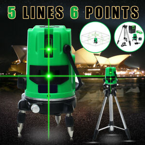 Green 5 Line 6 Points 360 Rotary Cross Outdoor Self Laser Level Measure Tripod