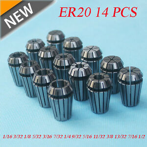 New Er20 14 Pcs Spring Collet Set 1 16 1 2 Cnc Super Precision 1 8 1 4 3 8 Us