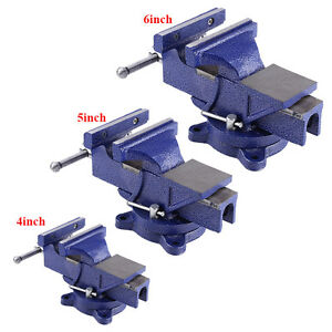 5 6 Bench Vise With Anvil Swivel Locking Base Table Top Clamp Heavy Duty Steel
