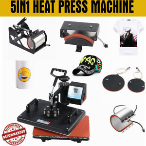 5 In 1 Heat Press Machine For T shirts Mug Hat Plate Swing Away Sublimation Kit