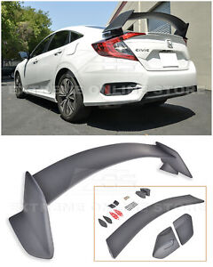 For 16 Up Honda Civic Sedan Type R Style Primer Black Rear Trunk Wing Spoiler
