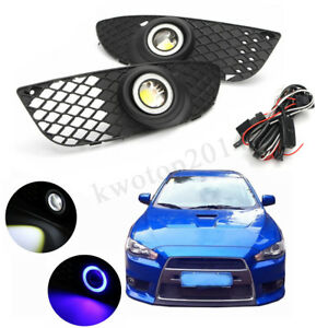 Halo Ring Fog Lights Lamps For Mitsubishi Lancer 2008 2014 Clear Lens