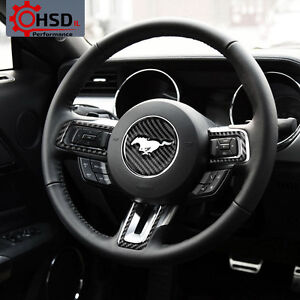 Carbon Fiber 3d Steering Wheel Emblem Molding Trim For Ford Mustang 2015 2017