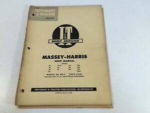 Vintage 1953 Implement Tractor Shop Manual Massey harris Pony 20 22 30 44 55