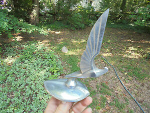 Art Deco Bird Winged Hood Ornament Vintage Mascot Radiator Cap Nil Melior