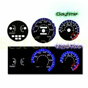 Black Indiglo El Gauge Kit Glow Blue Reverse For 92 95 Civic Lx Ex Si Mt Only