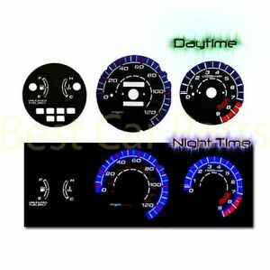 Black Indiglo El Gauge Kit Glow Blue Reverse For 92 95 Civic Lx E