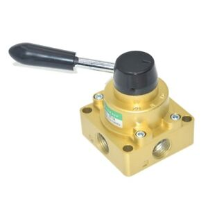 Pneumatic Valve 4 Port 3 Position 1 2 Bspt Hand Operated Rotary Manual Control
