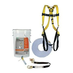 6 piece Fall Protection Kit Safety Gear Set Harness Rope Roof Anchor Comfort New