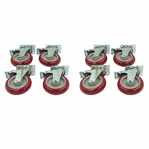 Set Of 8 Plate Caster With 5 Polyurethane Wheels All Swivel All Brake Casters
