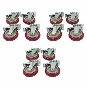 Set Of 12 Plate Caster With 5 Polyurethane Wheels All Swivel All Brake Casters
