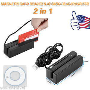 2 in 1 Usb Credit Card Reader writer Card 3 Track Magnetic Ic Chip Stripe Swipe