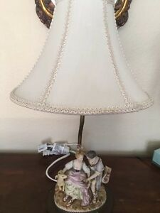 Antique Vintage Porcelain Figurine Table Lamp With Brass Base