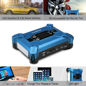 Portable Car Jump Starter Battery Booster Air Compressor Power Bank Led Auto Us