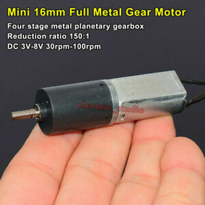 Mini 16mm Planetary Gearbox Gear Motor Dc3v 5v 6v 8v 100rpm Slow Speed Robot Car