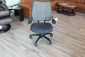 Humanscale Liberty Office Desk Chair In Black On A Black Base