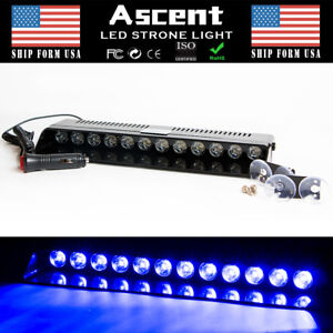 12 Led Strobe Flash Light Dashboard Visor Emergency Warning Lamp All Blue Us New