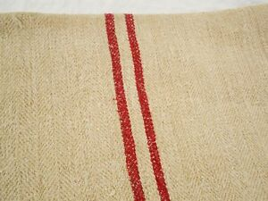 Perfect Vtg Antique Red Stripe Primitive Hemp Linen Feed Sack Grain Bag 20x50