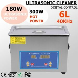 6l Qt 380w Digital Heated Industrial Ultrasonic Parts Cleaner Us Free Ship Ek
