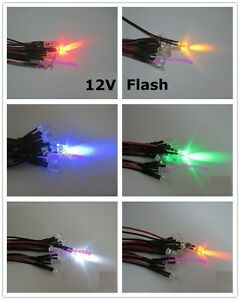 5mm Flash Flashing Red Yellow Blue Green White Orange Pre wired Led 12v Leds New