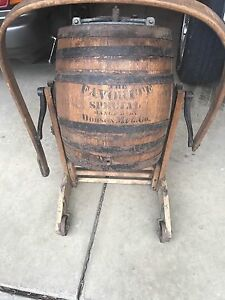 Antique Oak Butter Churn Barrel Stand Barrel