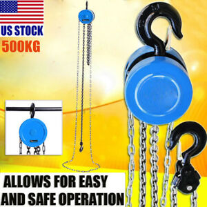 500kg 2 5m Chain Block Tackle Hoist Lifting Pulley Tool Heavy Duty Load Crane
