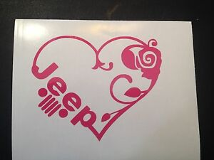 Jeep Girl Heart Vinyl Decal Sticker Window Car Truck Laptop American Made